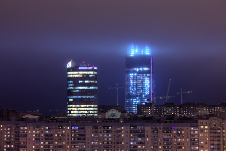 Saint-Petersburg, Russia - December 29, 2016: Under construction skyscraper Lakhta Center, Gazprom Tower at winter evening.