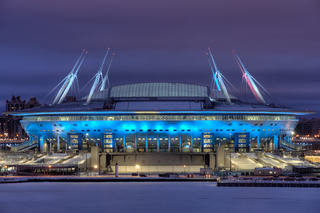 Saint-Petersburg, Russia - December 28, 2016: Zenit Arena new football Stadium in St. Petersburg for the Soccer World Cup, lit up at night.