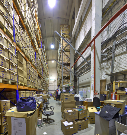 St. Petersburg, Russia - December 3, 2013: Record storage archives, boxes of stored records in warehouse.