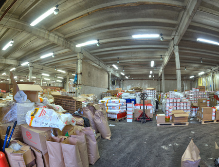 St. Petersburg, Russia - December 3, 2013: Grocery warehouse in a former factory.