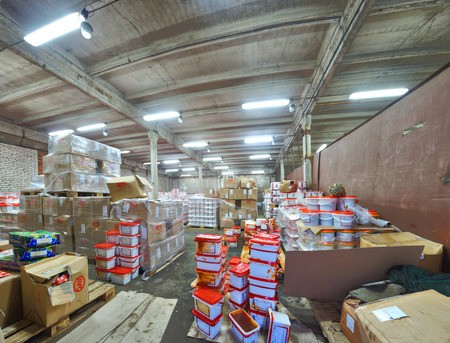 larder: St. Petersburg, Russia - December 3, 2013: Russian abandoned factory adapted for the grocery storehouse.