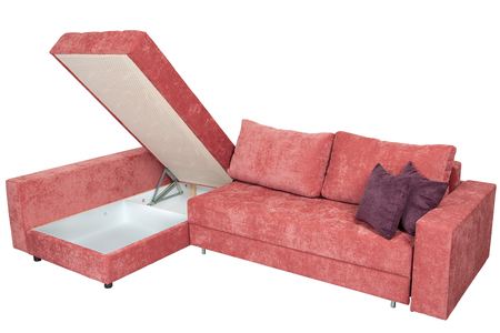 Corner convertible sofa bed with storage space, upholstery soft pink fabric,  isolated on a white background, saved path selection.