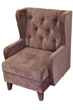 cushioned: light brown fabric upholstered single seater armchair, isolated on white background with clipping path.