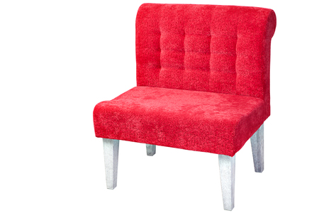 upholstered: Wooden chair, upholstered fabric of red,  isolated on white background with clipping path.