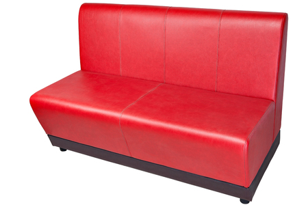 Red color imitation leather office couch, isolated on white, clipping path saved.