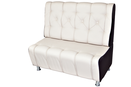 leathern: White leather modern banquette bench with storage space, isolated on white, clipping path saved.