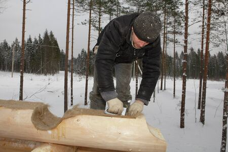 Leningrad Region, Russia - February 2, 2010:  Log cabin build, worker is placed  wall insulation between logs.