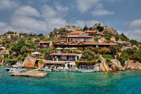 Kalekoy, Antalya, Turkey - 28 august, 2014: The village of Kalekoy or Simena in the Turkish island of Kekova. Editorial