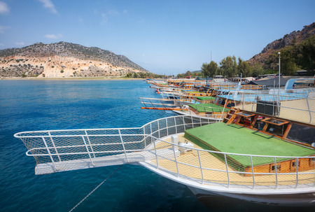 Antalya, Turkey - 28 august, 2014: Numerous excursion boat are at berth.