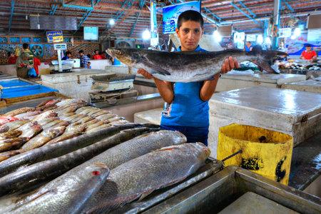 Bandar Abbas, Hormozgan Province, Iran - 15 april, 2017: The boy salesman shows fresh fish at the indoor fish market.
