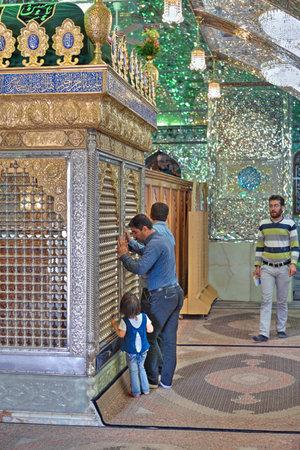 Fars Province, Shiraz, Iran - 18 april, 2017: Muslims to pray in Sayyed Alaeddin Hossein Mosque, worship of Mirrored mausoleum.