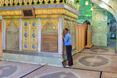 Fars Province, Shiraz, Iran - 18 april, 2017:  Mirrored mausoleum in Sayyed Alaeddin Hossein Mosque, muslim worship tomb.