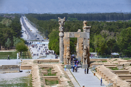 Fars Province, Shiraz, Iran - 20 april, 2017: Open-air museum ancient persian Persepolis city near Shiraz, All Nations Gate.