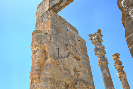 Details of the Gate of All Lands at Persepolis, Iran. Stock Photo