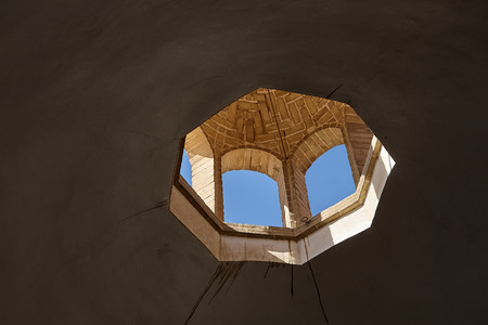 Window lantern in the ceiling of the dome of the building, Persian architecture, Yazd, Iran. Stock Photo