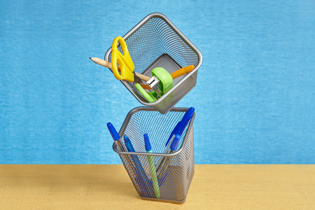 Wire mesh metal stationery holders
