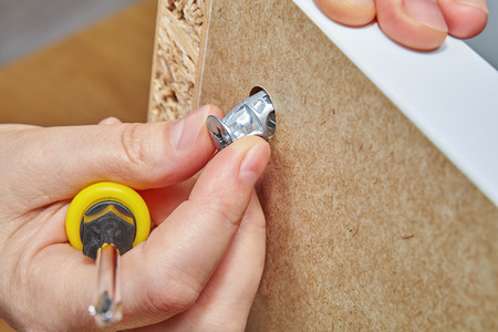 The furniture assembler fixes a cam lock nut in the hole on the surface of the furniture made of particle board, in one hand he holds a screwdriver.