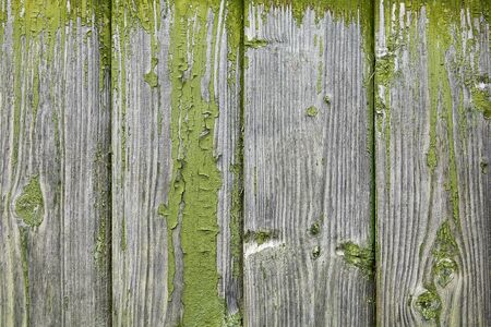 Wooden texture with peeling and fading green paint, old boards lining the facade of a wooden rural house, abstract background. Stock Photo