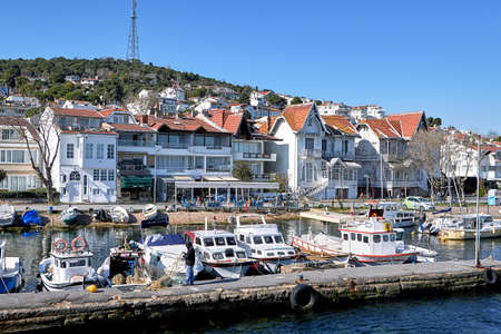 Istanbul, Turkey - February 13, 2020: Boats and yachts in the marina of the island Kinaliada one of Kzl Adalar. Sajtókép