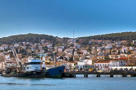 Istanbul, Turkey - February 13, 2020: The Princes' Islands or Kzl Adalar in Sea of Marmara. There are many historical houses that were preserved in their original condition in Heybeliada Island.