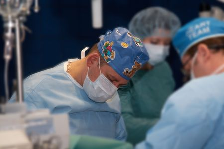command: The command of surgeons spends operation on the open heart