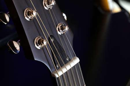 Closeup macro of electric black guitar