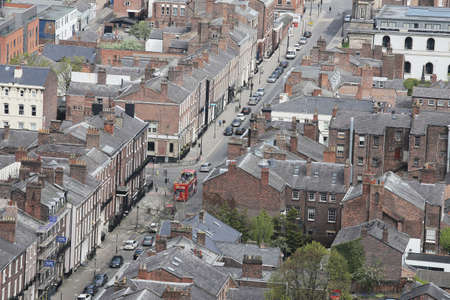 Panoramic aerial view of Liverpool city center Stock Photo