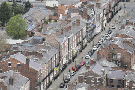 Panoramic aerial view of Liverpool city center Editorial