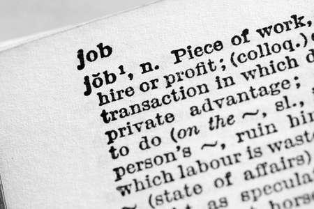 Job - Closeup macro of English dictionary page with word job