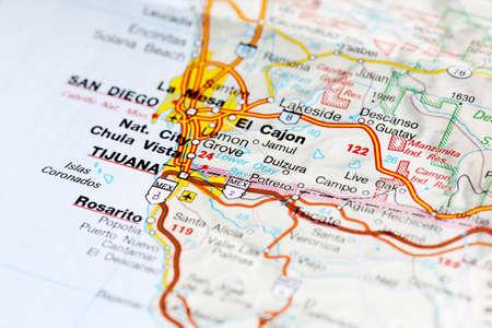 San Diego road map area. Closeup macro view Editorial