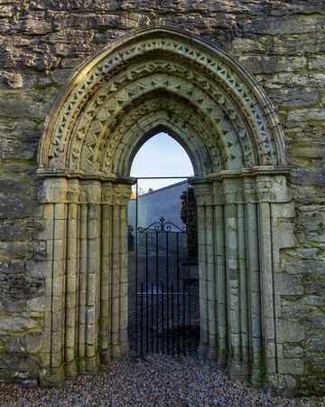 Entrance to the ruins of Cong Abbey built in the 12th century in Cong, County Mayo, Ireland