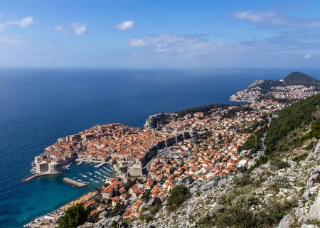 View of the old city of Dubrovnik from a viewpoint high above the sea