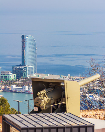 Barcelona, Spain - February 22, 2019 - Exterior of the W Hotel as viewed from Montjuic Castle. The building is also known as Hotel Vela (Sail Hotel)