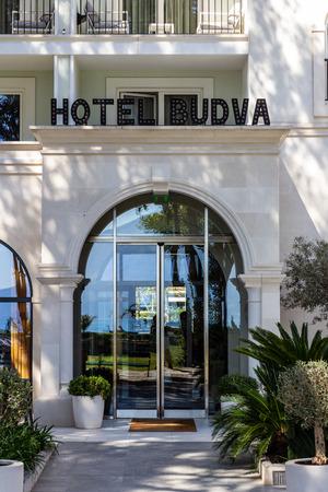 March 23, 2019 - Budva, Montenegro - The entrance of Hotel Budva near the waterfront of Luka Budva Editorial
