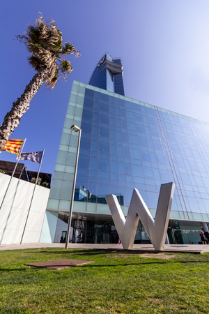 Barcelona, Spain - February 21, 2019 - Exterior of the W Hotel in the Barceloneta district. The building is also known as Hotel Vela (Sail Hotel)