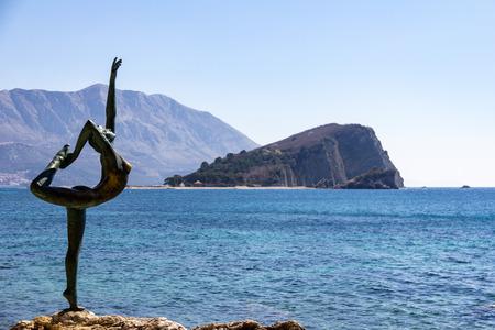 March 23, 2019 - Budva, Montenegro - The Ballet Dancer statue is an iconic attraction near Old Town Budva Redakční