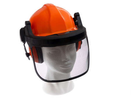 backround: protective helmet lumberjack on white backround. Stock Photo