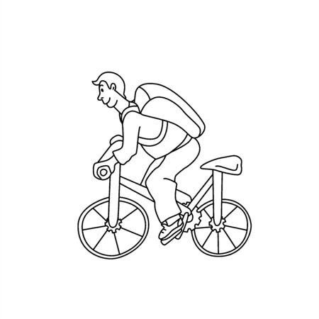 Courrier logistique de livraison de vélos. Guy de vélo dans le style doodle. Illustration de ligne vectorielle isolée sur fond blanc.