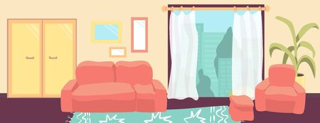 Living room interior with furniture. Comfortable sofa, window, armchair, and house plants. Vector flat illustration