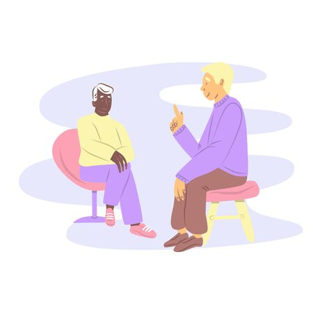 Healthcare concept of professional psychologist doctor consult in psychotherapy session or counsel diagnosis health. Illustration