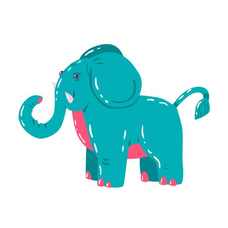 Big mammal elephant in cartoon style isolated on white. It has large ears, a concave back, wrinkled skin, an inclined belly. Sticker for children Иллюстрация
