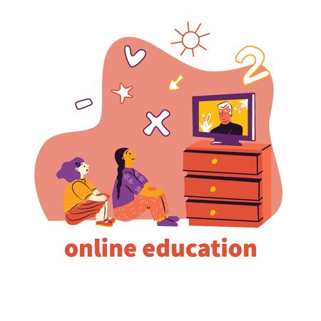 Online learning - modern illustration of happy education in comfortable conditions. Vector illustration in flat style. Pc helps the child learn Ilustracja