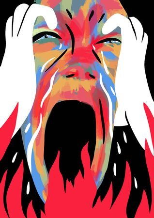 Depressed crying face screaming in the fire. Colorful vector illustration