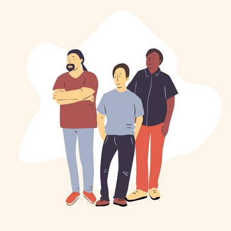 Multicultural team flat vector illustration. Unity in diversity. Three man standing together 矢量图像