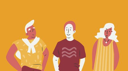 Multicultural group standing together for one idea. Flat illustration with women and man in limited color pallet. 矢量图像