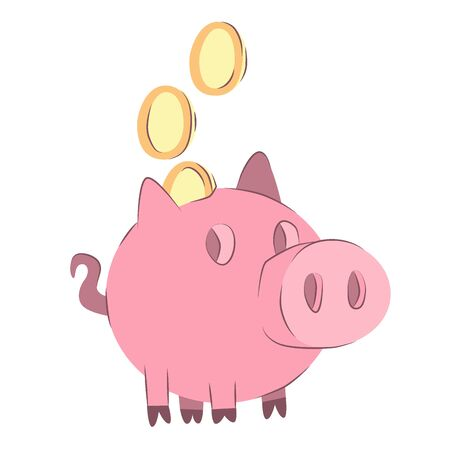 Piggy bank. Money box with falling gold coins. Illustration of savings dollar, piggybank and moneybox investing 向量圖像