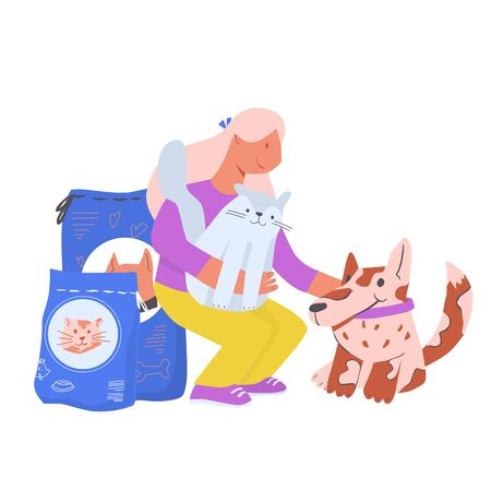Girl volunteer take care for homeless animals. Responsibility and helping to animals. Cartoon flat vector illustration.