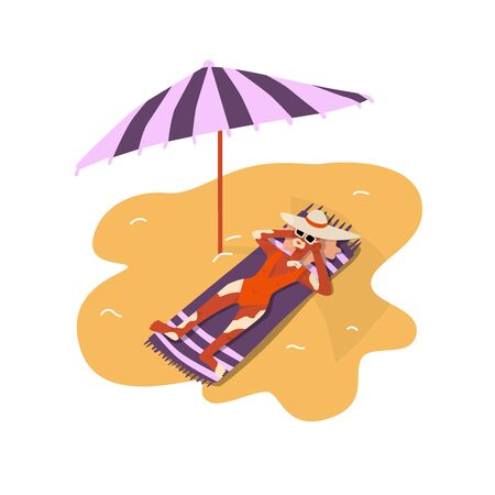 Woman with kin problem vitiligo lying on the bitch. Relax with comfort at the sun. Colorful flat illustration with umbrella and swimsuit Illustration