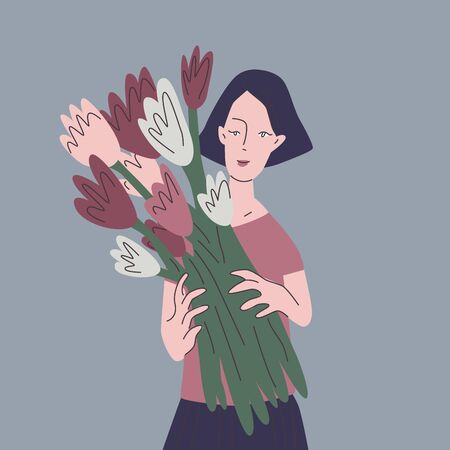 Banner for spring design. Beautiful woman with a bouquet of flowers in cartoon style. Flat vector illustrations.