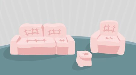 Sofa and armchair on grey wall at background. Flat vector illustration